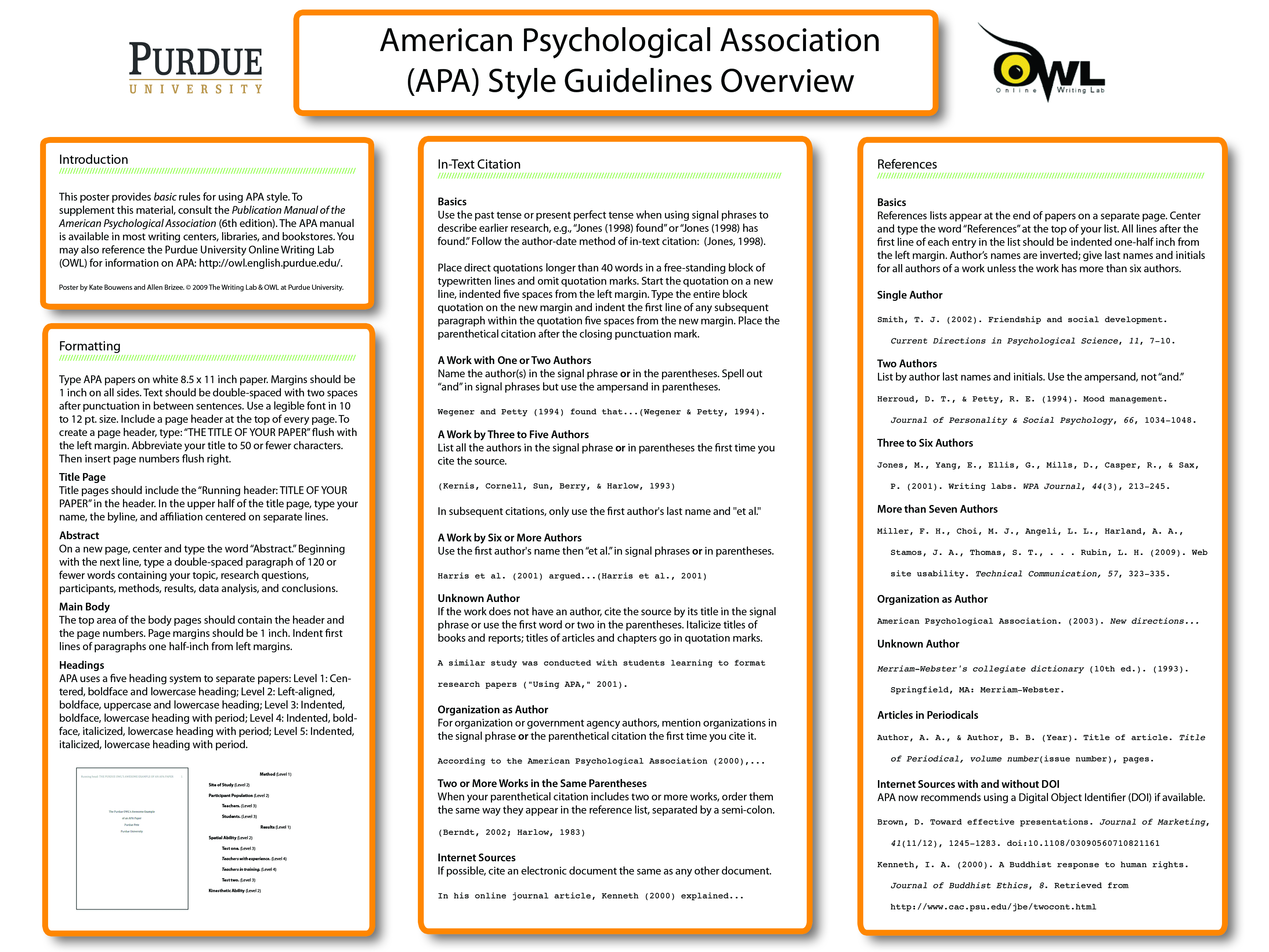 Apa Classroom Poster Purdue Writing Lab How To Cite Paraphrase In Format Owl