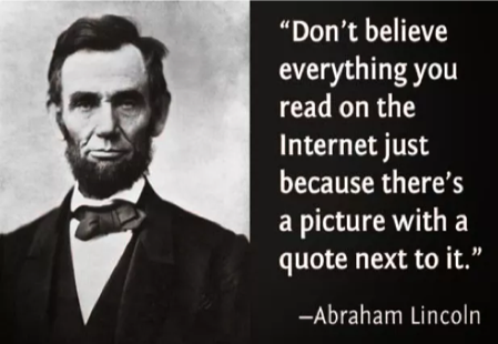 Fake quote next to picture of Abraham Lincoln